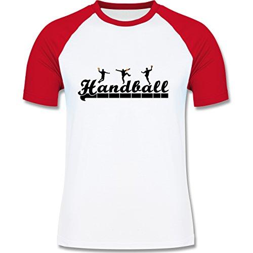 Shirtracer Handball - Handball Sturm Torwart Schriftzug - Herren Baseball Shirt Weiß/Rot