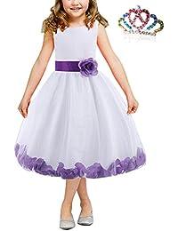 MODETREND Niñas Vestidos de Princesa Tutu Niña de las Flores Niños Estampado Borde Floral Blanco Vestido para Ceremonia Boda Fiesta Cumpleaños Cosplay