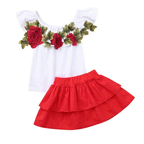 UFODB Baby Set Mädchen, Toddler Kids Mode Off Shoulder Rose Stickerei T-Shirt Tops + Rüschen Prinzessin Partykleider Ballkleider Outfits Kinderkleidung Babykleidung