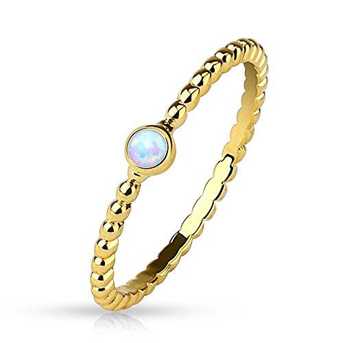 Bungsa 57 (18.1) Damenring mit Opal Kristall Stein Gold (Ring Damen Fingerring Partnerringe Verlobungsringe Trauringe Damenring Brass 14Kt)