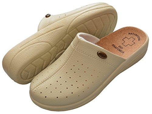 Da donna comfort sandali sabot pantofole in sughero lavoro modello 3512 Beige