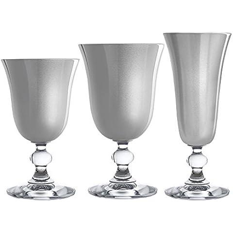 H&H J`Adore Set Calici Vino, Vetro, Trasparente/Argento, 15 cl, 6