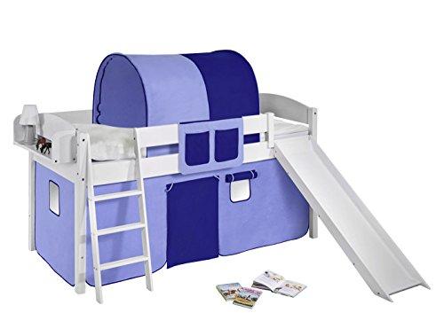 Lilokids Spielbett IDA 4105 Blau-Teilbares Systemhochbett weiß-mit Rutsche und Vorhang Kinderbett Holz 208 x 220 x 113 cm