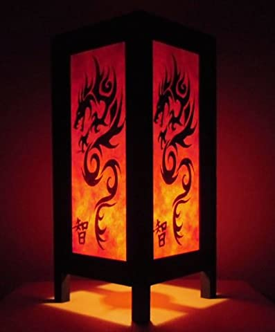 Rare Asie thaï Lampe de Tables Bouddha Style Chevet Noir Orange Dragon Par Thaïlande