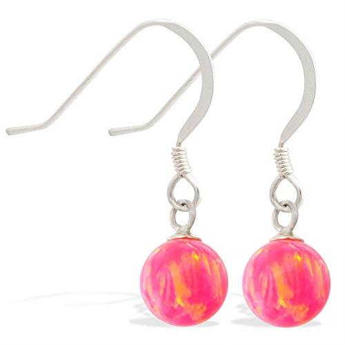 Sterling Silber Ohrringe mit baumelnden 8mm Rosa synthetischen Opal Ball