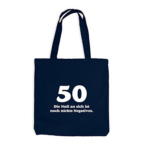 Sacchetto Di Juta - Compleanno 50 Anni - Lo Zero Non È Nulla Di Negativo - Divertente Regalo Compleanno Blu Marino
