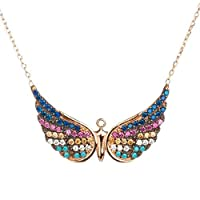 925 Sterling Silver Angel Wings Necklace with Colourful Stones