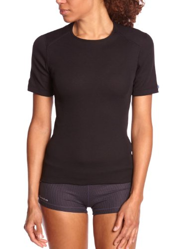 Odlo Damen Shirt Short Sleeve Crew Neck Warm Unterhemd, black, L (Unterwäsche Damen-champion)