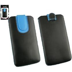 emartbuy Noir/Bleu Étui Coque Case Cover en Cuir PU (Taille 5XL) avec Languette Push Up Adapté pour Klipad KL48PH 3G 6 Pouce Smartphone