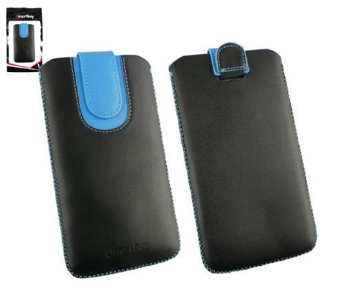 Emartbuy® Schwarz / Blau PU Leder Slide in Hülle Tasche sleeve Halter ( Größe 5XL ) Mit Zuglasche Mechanismus Geeignet Für Padgene R8 Smartphone 6 Zoll