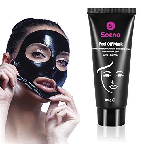 SOENA Blackhead Peel-Off Maske gegen Mitesser Schwarze Black Mask mit Aktivkohle - Gesichtsmaske...