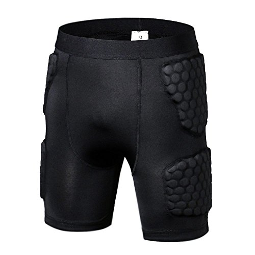 DGYAO® Mens Body Safe Guard Padded Compression T-shirt Short Rib Chest Protector for Rugby Basketball Football Paintball Cycling Hockey
