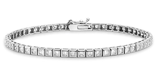 Carissima Gold 9 ct Or Cubic Zirconia Bracelet of Length 19 cm/7.5 inch Or blanc