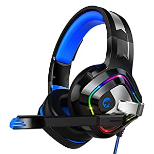 Z66 PS4 Gaming Headset Kopfhörer mit Mikrofon 3.5mm, LED Licht Over Ear Surround Sound Kabelgebundenes Ohrhörer und Lautstärkeregelung für Playstation 4 Xbox One Nintendo Switch PC Laptop Tablet Phone
