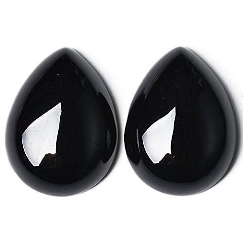 1 x Noir Onyx 22 x 30mm Cabochon Poire/Goutte -