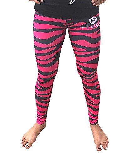 Frauen Rosa Gamaschen Camozebra Druck Damen Hose Für Yoga, Arbeiten Aus Und Sportarten - Zebra - Medium