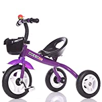 MC-F Kids Tricycle Adjustable Seat, Children 3 Wheel Pedal Bike, with Foam Tyres, for 1-6 Years Kids and Toddlers,Purple