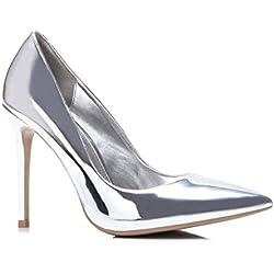 Schuhzoo - Damen High Heels Pumps Gold Silber NEU Gr. 35-40-Silber-38