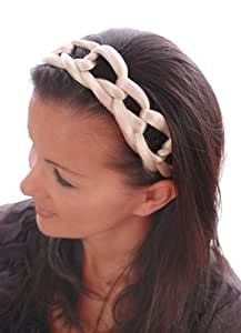Brown Mix Chain Effect Elasticated Hair Band | Wide Plaited Lattice Band | Brown Mix Hair Like Fibre