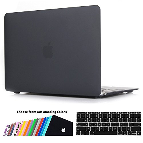 MacBook 12 Retina Hülle Schale,iNeseon Ultra Slim Plastik Hartschale Tasche Cover Shell, US schwarz und EU Transparent Tastatur Abdeckung Schutzhülle für Apple MacBook 12 Zoll mit Retina Display [Modell:A1534] (Schwarz) (Mac Retina Tastatur-abdeckung)