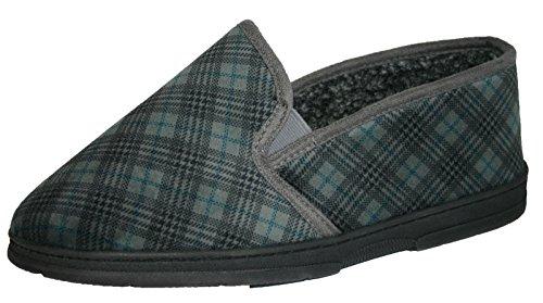 Mens Dunlop vérifiée à double soufflet élastique pour enfiler les chaussons chaussures Tailles :  39–45 Gris