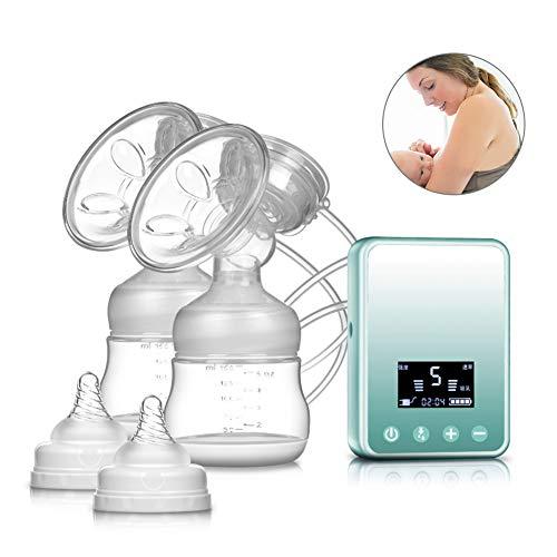 Elektrische Milchpumpe Tragbar USB Wiederaufladbar Brustpump mit LCD-Anzeige Automatische Massage Milchpumpe (Doppelsauger Blau) -