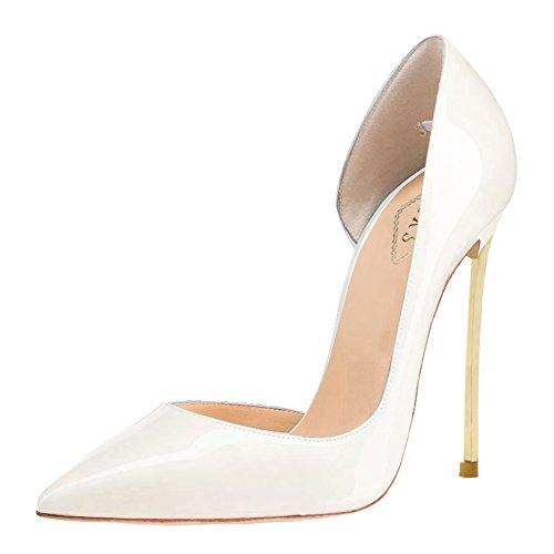 EKS Damen Atumzy Designer Schuhe Spitz Zehe High Heels Court Schuhe Stilettos Pumps EU 35-46 White-Lackleder