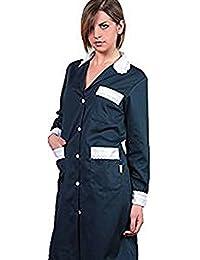 Bata para mujer para trabajo de limpieza. Vestimenta para empleada doméstica, de algodón, mujer, negro