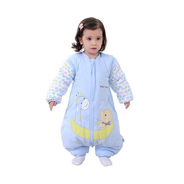 Saco de Dormir para bebé con piernas Saco de Dormir de Invierno de Manga Larga con Forro cálido para Invierno con pies 3…