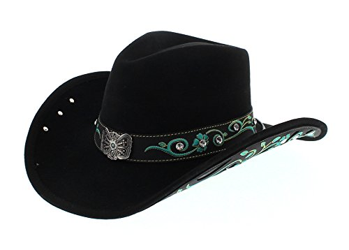 Dallas Hats Savanna Black Cowboyhut für Damen Schwarz Wollhut, Groesse:L (58-59)