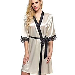 Women Sexy Silk Kimono Dressing Babydoll Lace Lingerie Bath Robe Nightwear Floral V Neck Silky Satin Sleepwear Chemise Nightgown G-String Elegant Gown Pajama Nighty Night Dress