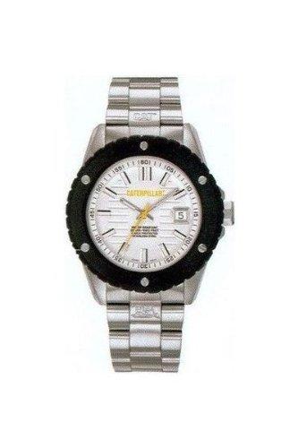 Caterpillar SHOCKMASTER CA1012 - Reloj analógico de caballero de cuarzo con correa de acero inoxidable plateada