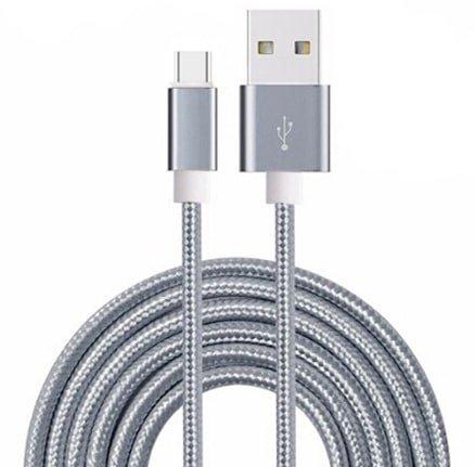 Aventus (Grey) Micro USB Cavo di Nylon Intrecciato per Caricabatterie e Trasferimento di Dati con Lunghezza di 3 Metro Adatto al Sony Xperia XA1 (2017)