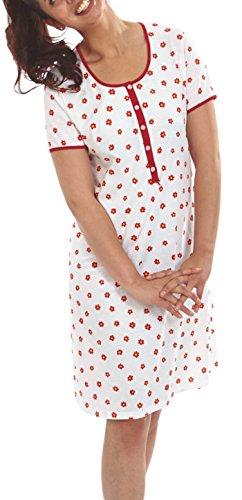 Graziella Nachthemd Katja 100cm lang Sleepshirt mit Knopfleiste 38/40 Nachtwäsche 100% Baumwolle Big Size (Baumwolle Muster Sleep-pants)