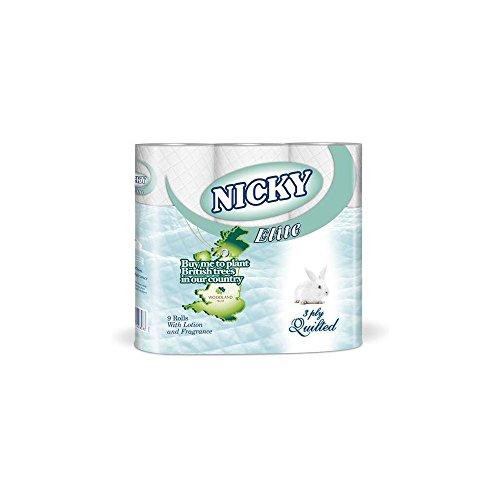 Himbeer-polster (Nicky Elite Weiß 3 Falte Stepp Toilet Rolls (9) - Packung mit 2)