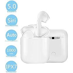 Écouteurs Bluetooth 5.0 Oreillette Bluetooth sans Fil Début Hi-FI Stéréo CVC8.0 Antibruit IPX7 Sport Etanche Auto-Appariement Micro pour iPhone iPad Samsung Tablette etc