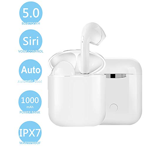 Auriculares bluetooth, Auriculares inalámbricos Bluetooth 5.0 Sonido Estéreo Auricular Mini Twins In-Ear Auriculares Carga Rapida Resistente al Agua con Caja de Carga para iPhone y Android
