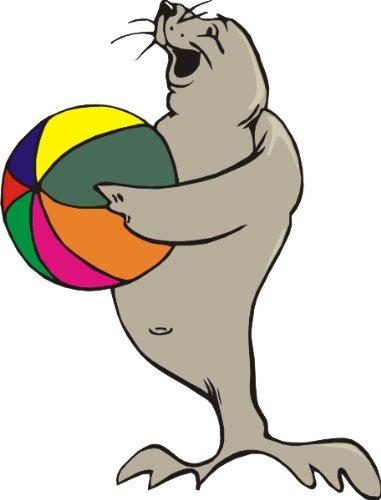 T-Shirt E619 Schönes T-Shirt mit farbigem Brustaufdruck - Logo / Grafik - Comic Design - freundlicher Seehund mit Wasserball Schwarz