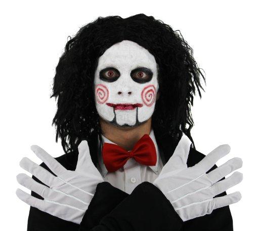 ASKEN SET - MASKE, SCHWARZE PERÜCKE,ROTE FLIEGE UND WEIßE HANDSCHUHE UND MAKE UP (Marionette Kostüm Halloween)