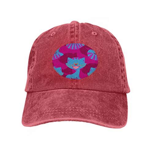 Snapback Adult Cowboy Hat Hip Hop Trucker Hat Cheshire cat Smile Pattern Texture Fantastic pet Alice wonde red ()