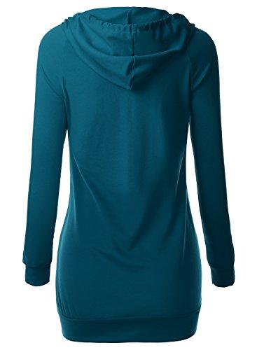 BAISHENGGT Damen Langarmshirt Kapuzenpullover Shirt Sweatjacke Hoody Tunika Pulli Türkis