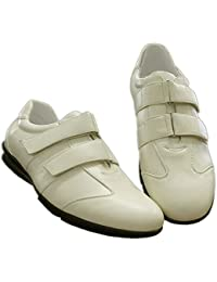 S LU Super Schicke und Elegante Herren Sneakers in cremeweiß mit Zwei  Stylisch Asymetrisch verlaufenden Klettverschlüssen über 502d5b1786