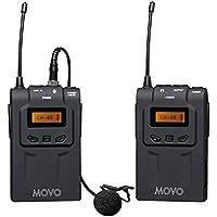 Movo WMIC70 sistema microfono lavalier wireless 48 canali UHF con Omni-Lav, supporto fotocamera e uscite XLR 3.5mm (portata
