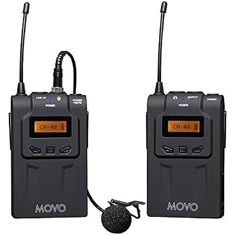 Movo WMIC70 sistema de micrófono de solapa inalámbrico UHF de 48 canales con Omni-Lav, montaje de cámara y salidas 3,5mm/XLR (rango de