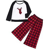 Conjunto de Pijamas Familiares Mujer Mami Plaid Blusa Pantalones Juego de Navidad a Familia Deals,Invierno Sudadera Chándal Descuentos
