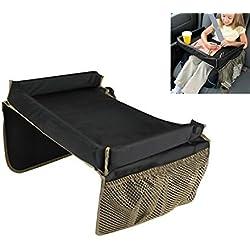 Kid aperitivo bandeja de juego portátil carrito mesa de seguridad para asiento de coche bandeja con bolsillos plegable para jugar, aperitivos, juegos, dibujo nueva