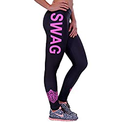 SaiDeng Mujer Skinny Lápiz Elásticos Pantalón Modelo De La Impresión Palabra Leggings 3XL
