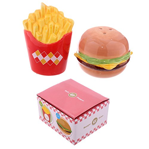 Home Salz-und Pfefferstreuer Set Fast Food Burger und Pommes, Keramik, Multi, Height 5.5-8.5cm Width 6-7.5cm Depth 3-6.5cm