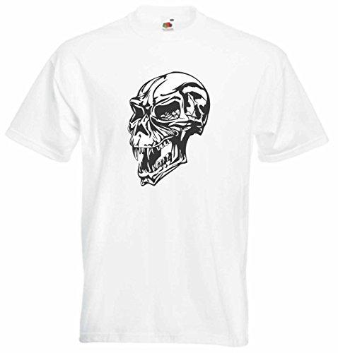 T-Shirt Herren Schädel fanged Weiß