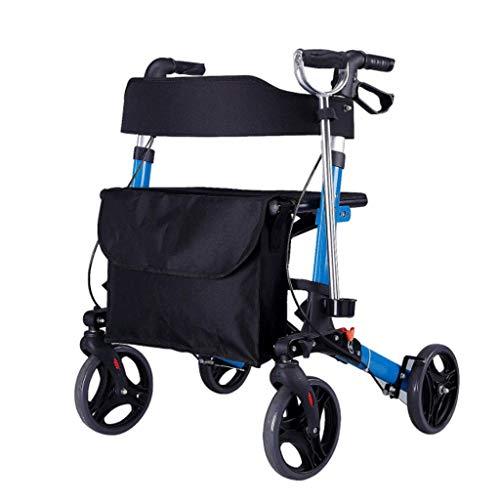 GFHF Walker Mit Vier Rädern, Älteres Gesundheitswesen Kompakter Einfacher Einkaufswagen Mit Sitz Mit Bremse Faltbar